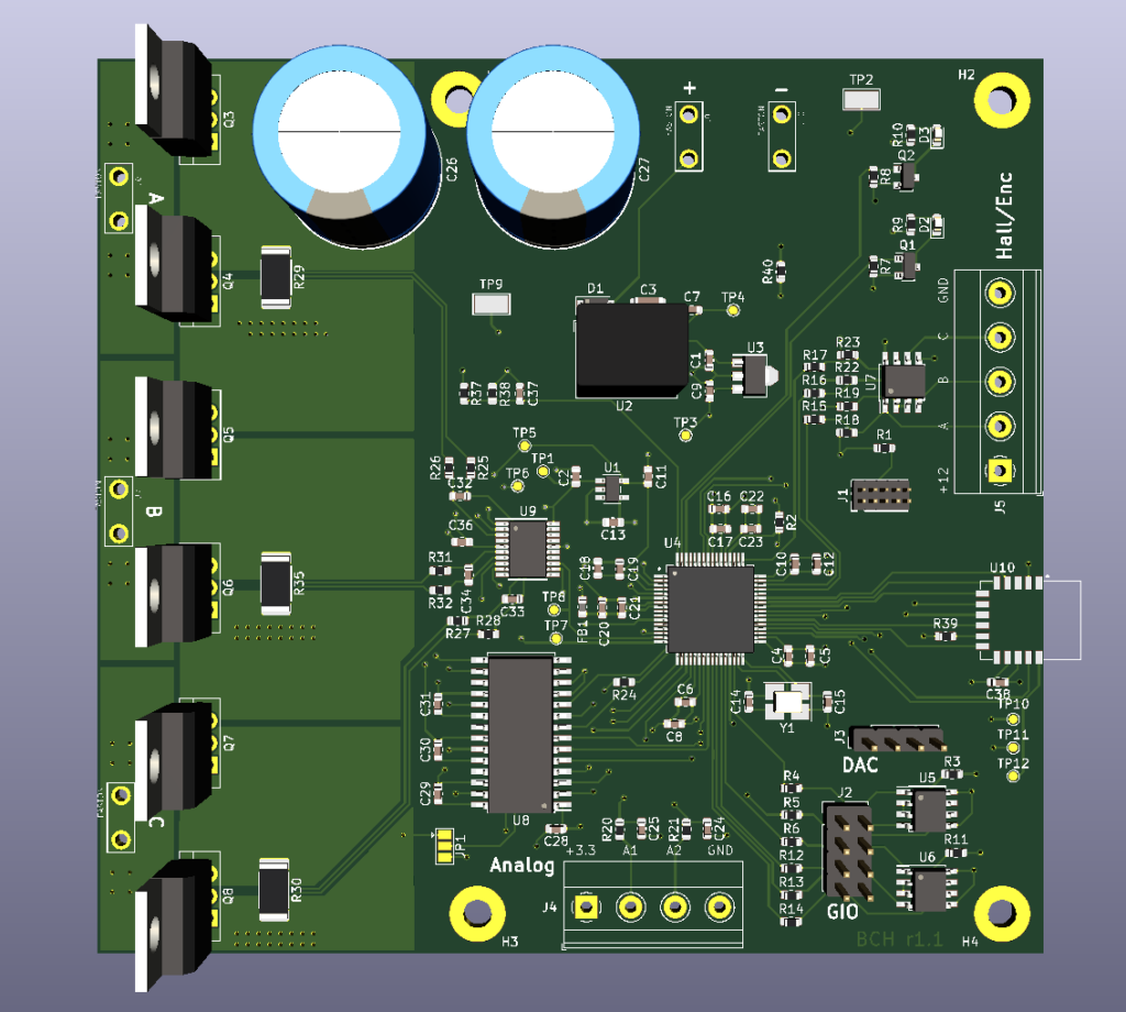 3D render of control board